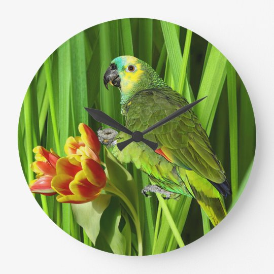 Green Nature With Parrot Large Clock
