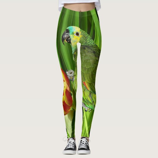 Green Nature With Parrot Leggings
