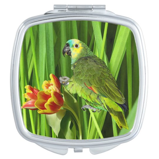 Green Nature With Parrot Makeup Mirror
