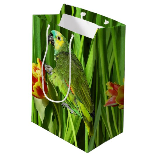 Green Nature With Parrot Medium Gift Bag