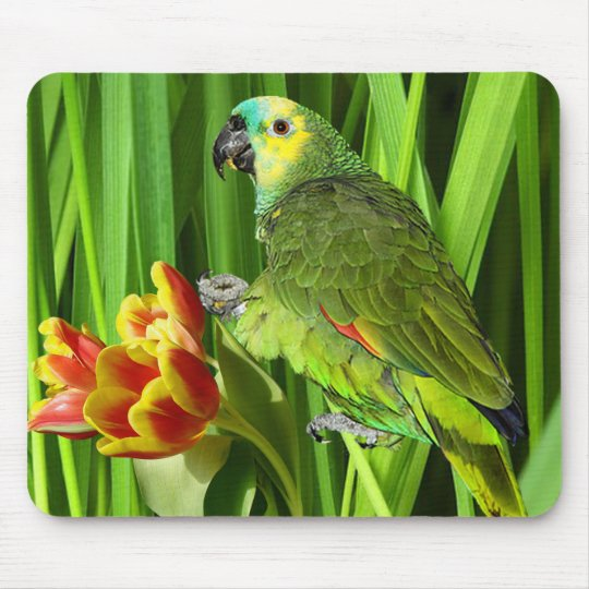 Green Nature With Parrot Mouse Pad