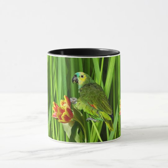 Green Nature With Parrot Mug