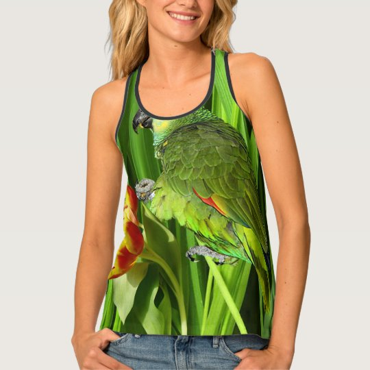 Green Nature With Parrot Tank Top