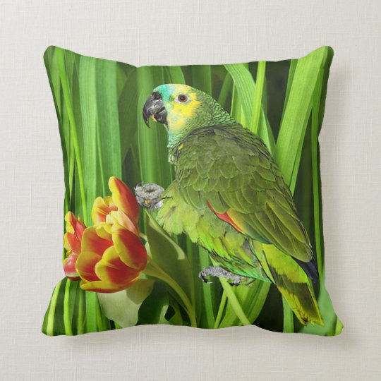 Green Nature With Parrot Throw Pillow