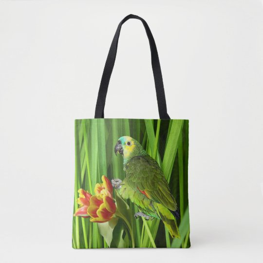 Green Nature With Parrot Tote Bag