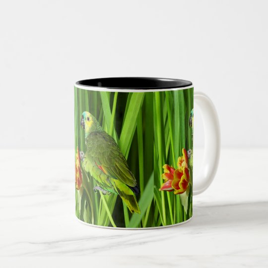 Green Nature With Parrot Two-Tone Coffee Mug