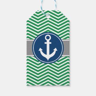Green Nautical Anchor Chevron Gift Tags