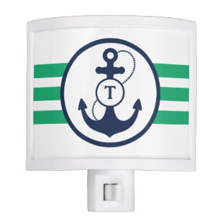 Green Nautical Monogram Night Lites