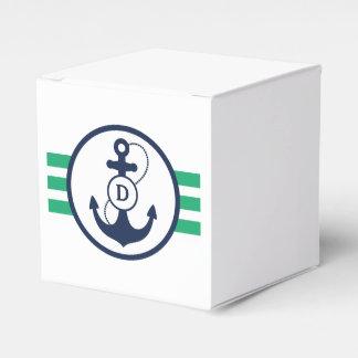 Green Nautical Monogram Party Favor Boxes