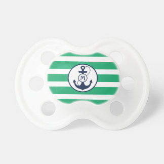 Green Nautical Stripes with Anchor Monogram Pacifier