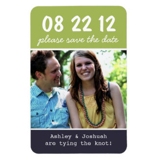 Green & Navy Photo Save The Date Magnet