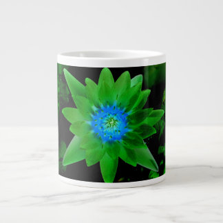 green neat water lily flower against green leaves jumbo mug