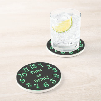 Green Neon Clock Time To Drink Coaster