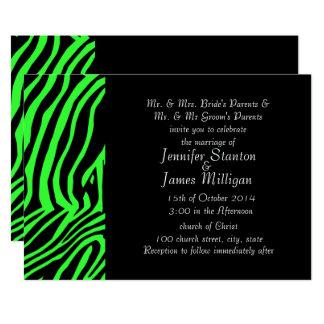 """Green neon color zebra pattern 5"""" x 7"""" invitation card"""