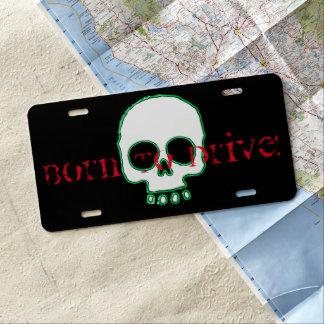 Green Neon Skull Add Message License Plate