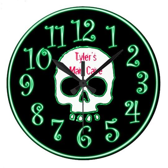 Green Neon Skull Custom Name Man Cave Clock