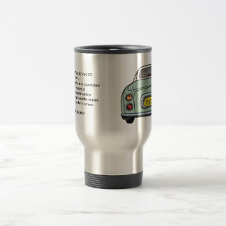 Green Nissan Figaro Car Nouvelle Quote Travel Mug