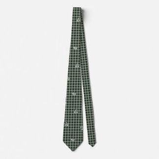 Green nPlaid Paw Print Necktie