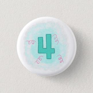 Green Number 4 Pink Swirls Birthday Buttons