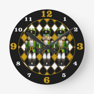 Green Nutcrackers Round Clock