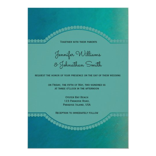 Green ocean beach destination wedding invitations