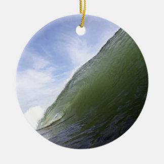 Green ocean surfing wave ceramic ornament