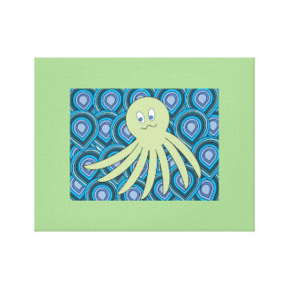 green octo in a swirling sea of blue and green canvas print