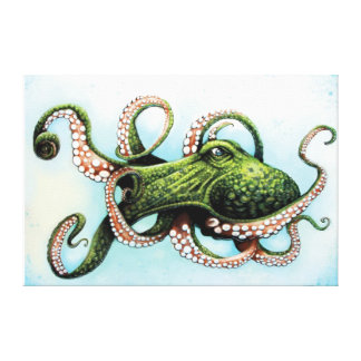 Green Octopus Gallery Wrapped Canvas