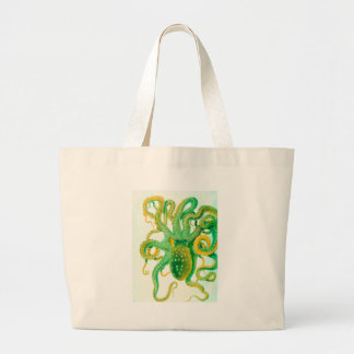 green octopus large tote bag