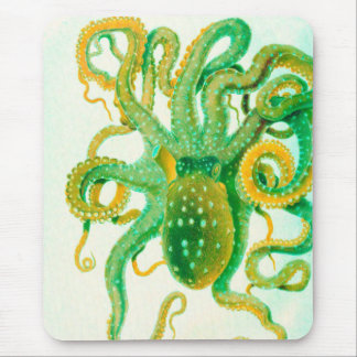 green octopus mouse pad