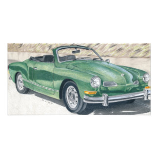 Green old Times - coloured pencil design Photo Card