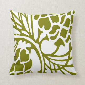 Green Olive and White Floral Abstract Pillow