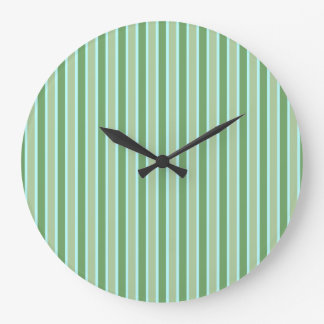 Green Olive Blue Stripe Wall Clock