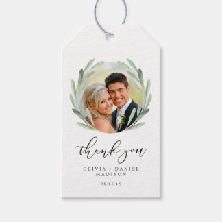 Green Olive Branch Wreath Wedding Thank You Photo Gift Tags