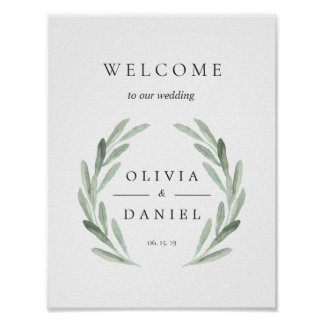 Green Olive Branch Wreath Welcome Wedding Sign