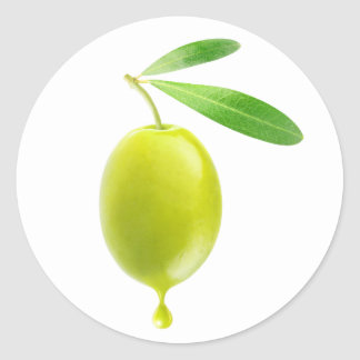 Green olive with drop of oil classic round sticker
