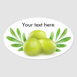 Green olives with decorative branches oval sticker