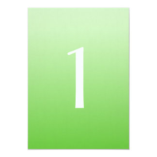 Green Ombre Wedding Table Number