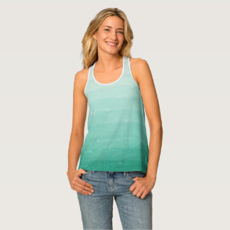 Green Ombre with gold flecks and dots Tank Top