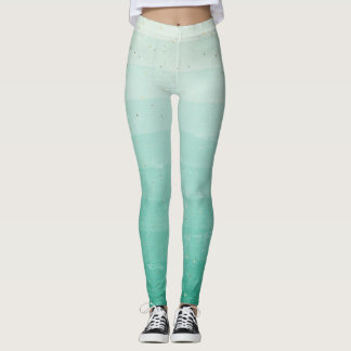 Green ombre with gold flecks leggings