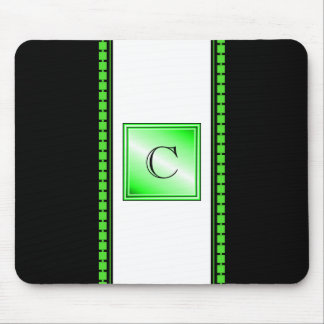 Green on Black and White Monogram Mouse Pad
