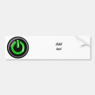 """ Green On "" Black Power Button Bumper Sticker"