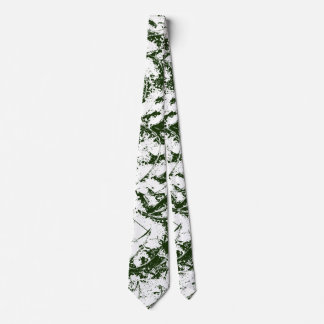 Green On White Abstract Design Tie