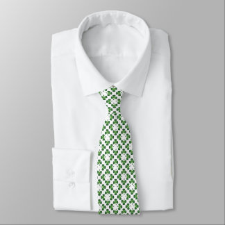 Green on White Lucky Shamrock Clover Design Tie