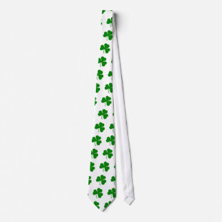 Green on white St Patricks day shamrock Tie