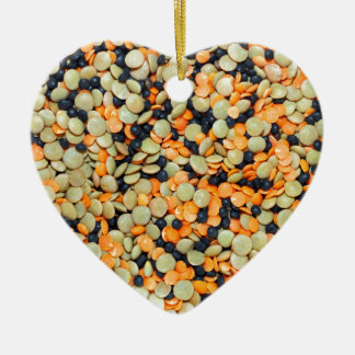 Green, Orange and Black Lentils Ceramic Ornament