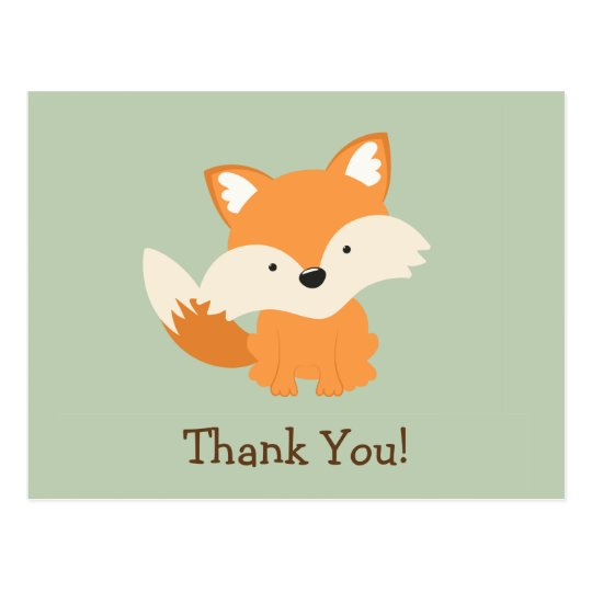 Green & Orange Baby Fox Thank You Postcard