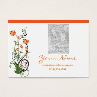 Green & Orange Floral/Vine Design 2 Business Cards