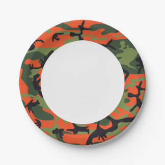 Green Orange Forest Camouflage. Camo your 7 Inch Paper Plate