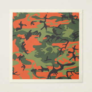 Green Orange Forest Camouflage. Camo your Disposable Napkin